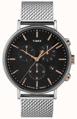 Timex Fairfield montre chronographe maille d'argent cadran noir TW2T11400D7PF