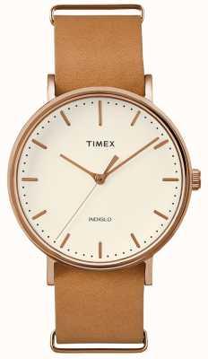 Timex Montre Fairfield à bracelet 3 aiguilles marron TWF3C8160UK