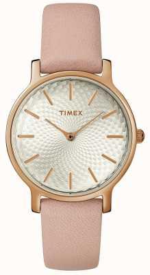 Timex Montre en cuir métropolitain pour femme, argent, or rose TW2R85200D7PF