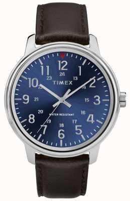 Timex Montre en cuir marron métropolitain pour homme, cadran bleu TW2R85400