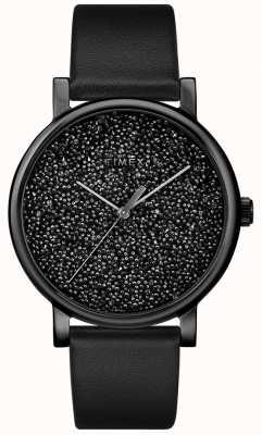Timex Montre en cuir noir pour femme avec cristaux swarovski TW2R95100D7PF