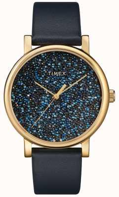 Timex Montre femme en cuir bleu avec cristaux swarovski TW2R98100D7PF