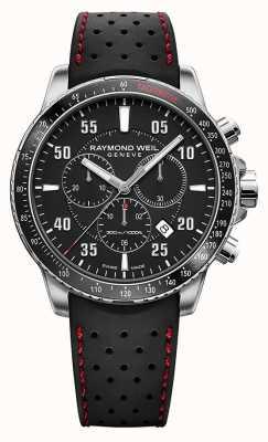 Raymond Weil Bracelet en caoutchouc noir chronographe pour homme 8570-SR1-05207