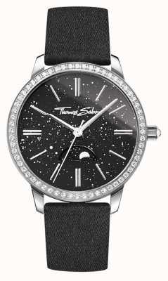 Thomas Sabo Bracelet en cuir noir avec glam et soul moonphase pour femme WA0327-209-203-33