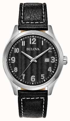 Bulova Montre homme cadran noir bracelet en cuir noir 96B299