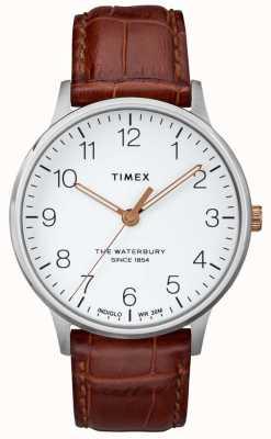 Timex Cadran blanc classique Waterbury avec aiguilles en or rose pour homme TW2R95900
