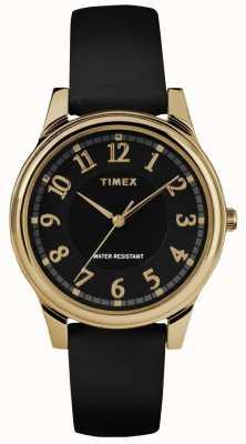 Timex Montre classique en cuir noir avec cadran noir TW2R87100