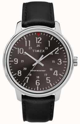 Timex Cadran noir classique en cuir brossé noir pour homme TW2R85500