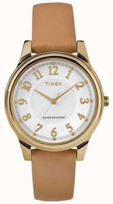 Timex Cadran argenté en cuir tan classique pour femme TW2R87000