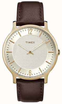 Timex Montre homme métropolitaine 40mm en cuir marron ton or TW2R92000