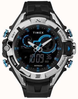 Timex Bague pour homme 47mm avec cadran noir et bracelet noir TW5M23000