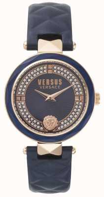 Versus Versace Bracelet pour femme en cuir bleu Covent Garden avec cadran en pierre bleue SPCD280017