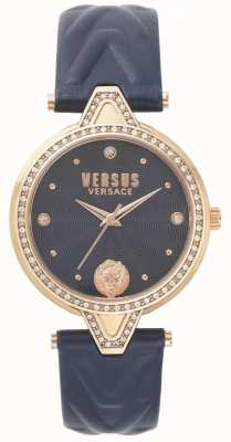 Versus Versace Femmes v / pierre sertie cadran bleu bracelet en cuir bleu SPCI340017