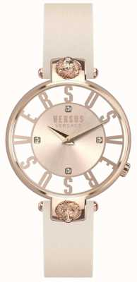 Versus Versace Bracelet en cuir rose avec cadran en or rose kristenhof pour femme SP49030018
