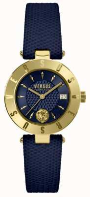 Versus Versace Logo femme cadran bleu bracelet cuir bleu SP77220018