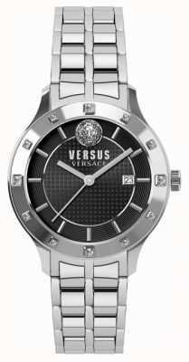 Versus Versace Bracelet en acier inoxydable avec cadran noir Womensfell SP46010018