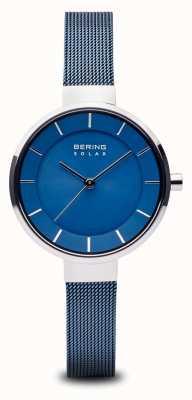 Bering Solaire femme, cadran solaire, boîtier en argent, bracelet en maille bleue 14631-307