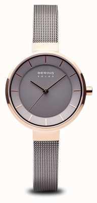 Bering Boîtier en or rose pour femme, bracelet en acier inoxydable 14631-369