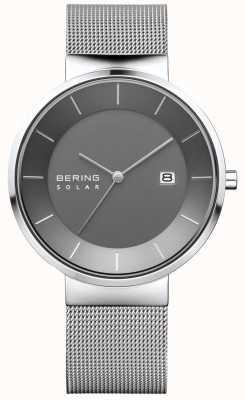 Bering Montre solaire pour homme, boîtier en argent, bracelet en acier inoxydable 14639-309