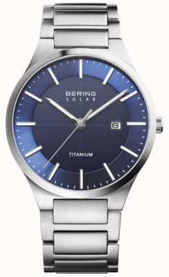 Bering Visage bleu solaire homme titane argenté 15239-777