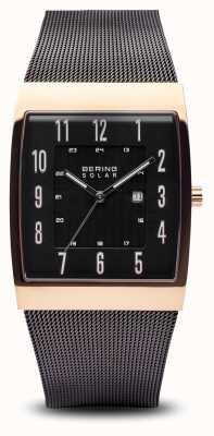 Bering Carré solaire en or rose pour hommes, bracelet en maille noire 16433-166