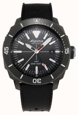 Alpina Bracelet en caoutchouc noir seastrong diver gmt pour homme AL-247LGG4TV6