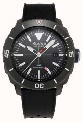 Alpina Bracelet en caoutchouc noir pour homme Seastrong Diver GMT AL-247LGG4TV6