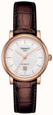 Tissot Bracelet en cuir marron carson automatique pour femme, plaqué or rose T1222073603100