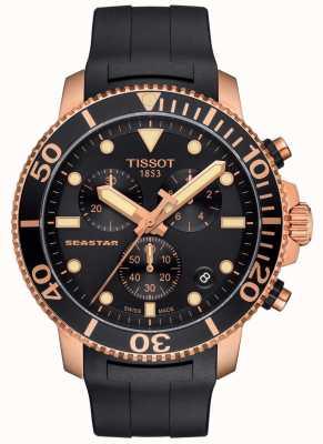 Tissot Chronographe à quartz Seastar 1000 pour homme noir / or / bracelet en caoutchouc T1204173705100