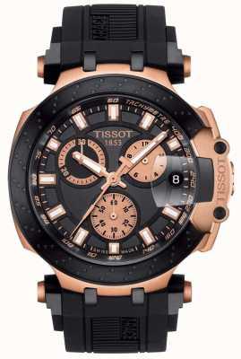 Tissot Mens t-race quartz chrono cadran noir accents plaqués or T1154173705100