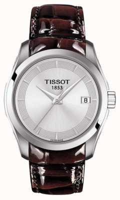 Tissot Bracelet cuir femme couturier brun cadran argenté T0352101603103