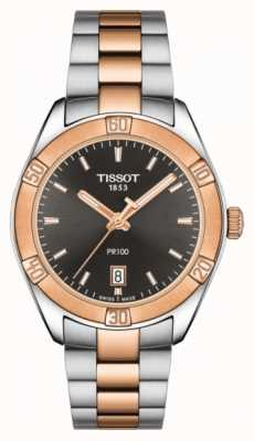 Tissot Womens pr 100 sport chic 36mm deux tons cadran noir T1019102206100