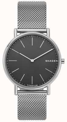 Skagen Bracelet signature en acier inoxydable avec cadran noir SKW6483