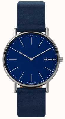 Skagen Bracelet en cuir bleu signatur pour homme SKW6481