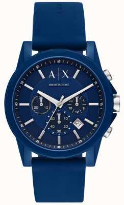 Armani Exchange Ensemble cadeau montre de sport pour hommes | bracelet en silicone bleu | AX7107