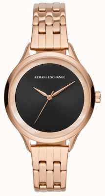 Armani Exchange Dames robe montre or rose AX5606