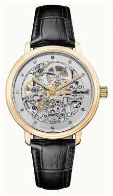 Ingersoll Le bracelet en cuir noir automatique de la couronne I06102