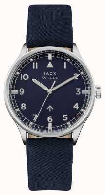 Jack Wills Bracelet en cuir bleu marine avec cadran bleu marine JW001BLSS