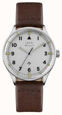Jack Wills Bracelet en cuir marron cadran argenté campeur pour homme JW001BRSS