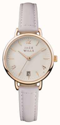 Jack Wills Bracelet en cuir rose pour femmes, cadran onslow crème JW006PKRS