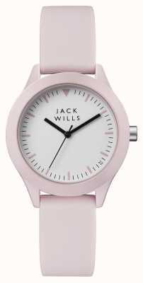 Jack Wills Bracelet en silicone rose pour femme, cadran blanc JW008PKPK