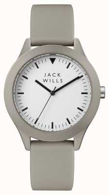 Jack Wills Bracelet en silicone gris pour homme avec cadran blanc JW009WHGY