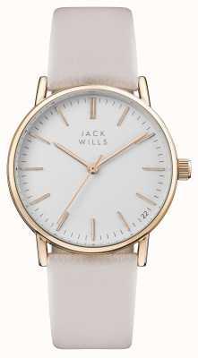 Jack Wills Bracelet femme en cuir rose avec cadran blanc berry JW013PKRS
