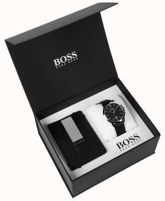 Hugo Boss Coffret homme pince à billets cadran noir classique cuir noir 1570065