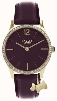 Radley Montre femme bracelet en cuir violet boîtier en or RY2708