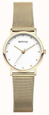 Bering Montre classique pour femme en maille dorée 13426-334