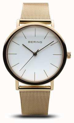 Bering Montre classique pour femme en maille dorée 13436-334