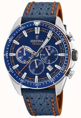 Festina Bracelet cuir bleu cadran bleu pour homme F20377/2
