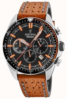 Festina Bracelet en cuir orange cadran noir pour homme F20377/4