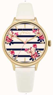 Joules Bracelet en cuir crème pour femme, rayure bleue, cadran fleur JSL002WG